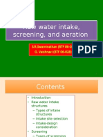 raw water intake, screening, and aeration in water supply project