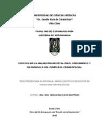 EFECTOS DE LA MALNUTRICIÓN FETAL EN EL CRECIMIENTO Y DESARROLLO DEL COMPLEJO CRANEO FACIAL