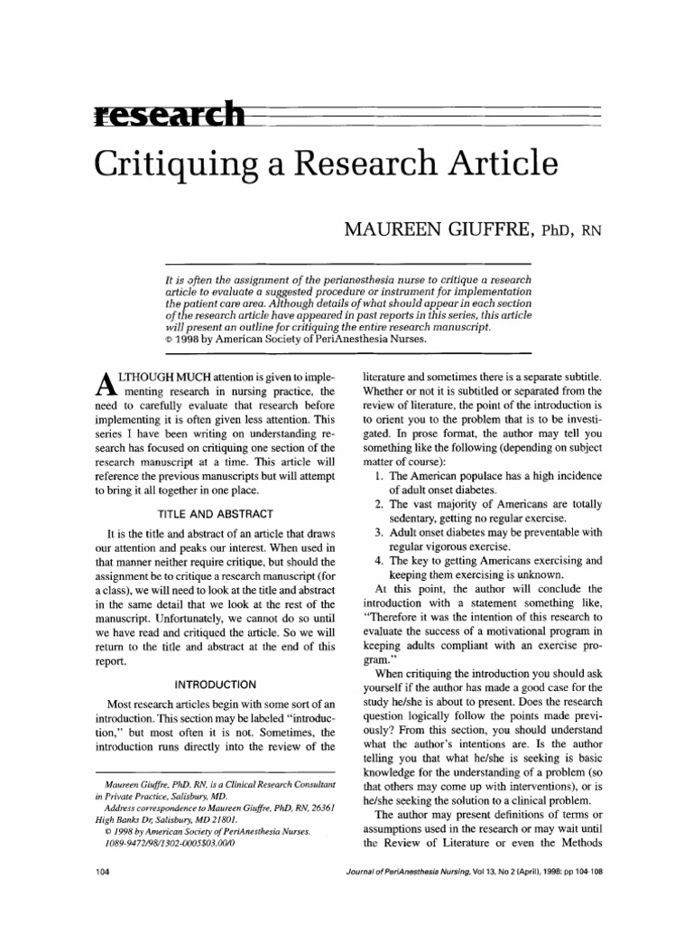 Critiquing a Research Article | Abstract (Summary) | Theory