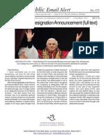373 - Pope Benedict Resignation Announcement (Full Text)
