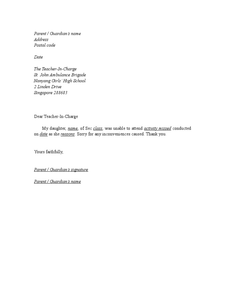 Absent excuse letter for not attending class excuse letter format spiritdancerdesigns Image collections