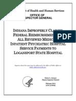 Indiana Logansport State Hospital Medicaid Federal Audit