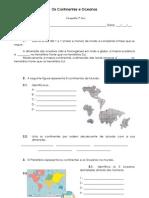 Ficha de Trabalho - Continentes e Oceanos