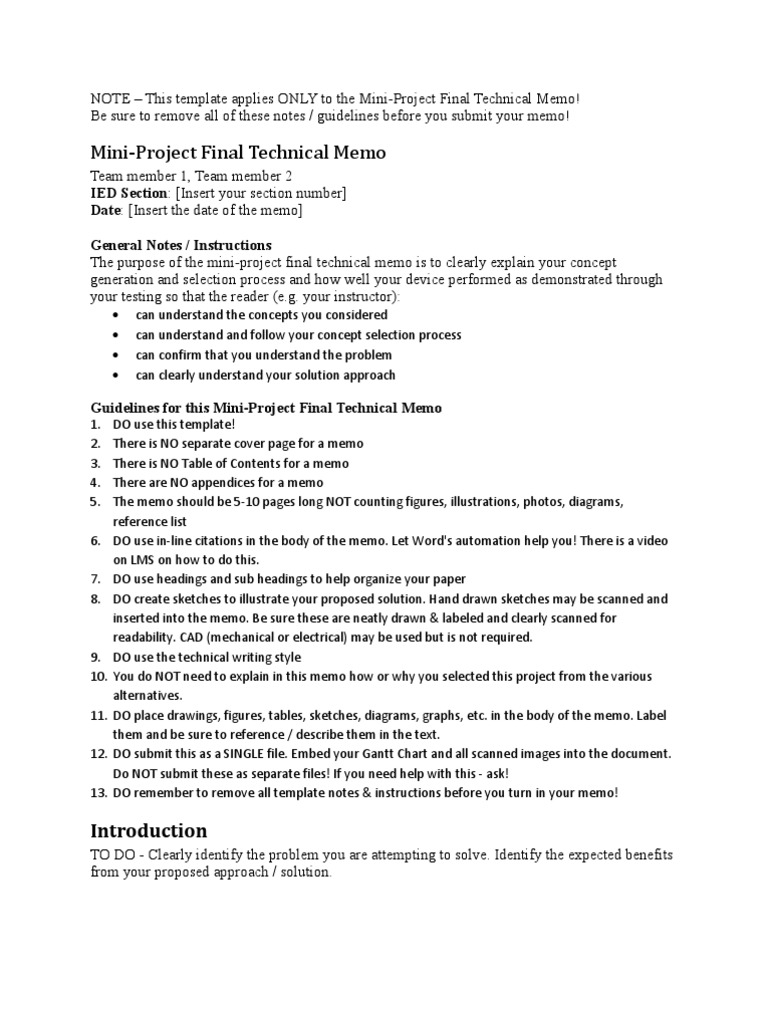 IED Tech Memo Sample | Memorandum | Data  Project Memo Template