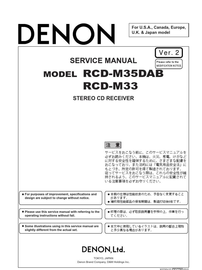 Denon+RCD M33+RCD M35+DAB++Service+Manual[1] | Insulator