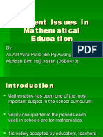 Current Issues in Mathematical Education