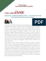 Revue de Presse Lancement Du Code Des EEP 21 Mars 2012
