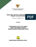 Permen PU No. 21 Tahun 2010 tentang Organisasi dan Tata Kerja UPT Kementerian PU