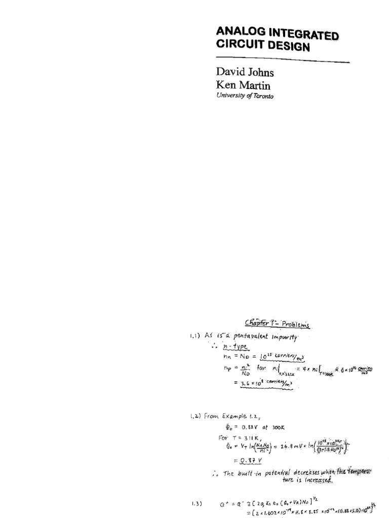 analog integrated circuit design solutions manual johns martin rh scribd com analog integrated circuit design tony chan carusone solution manual analog integrated circuit design 2nd edition solution manual pdf