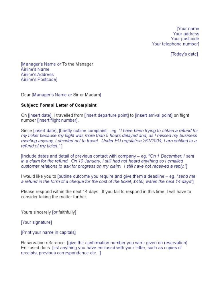 Airline Template Complaint Letter  Complaint Template Letter