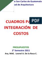 19. Cuadros para Integración de Costos
