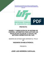 DISEÑO Y FABRICACIÓN DE UN SISTEMA DE CONTROL AUTOMÁTICO PARA ACTIVAR LAS PISTOLAS DE CALOR DE LA CELDA 2 DE MOTORES HERMÉTICOS DEL SUR