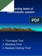 Screening Test of Haemostatic System
