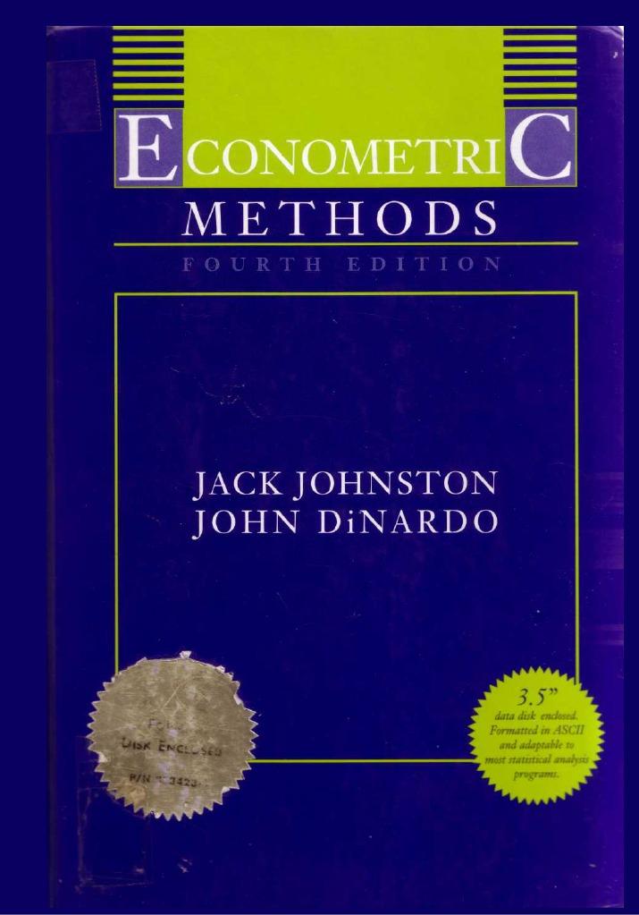 jack johnston and john dinardo 1997 econometric methods rh scribd com