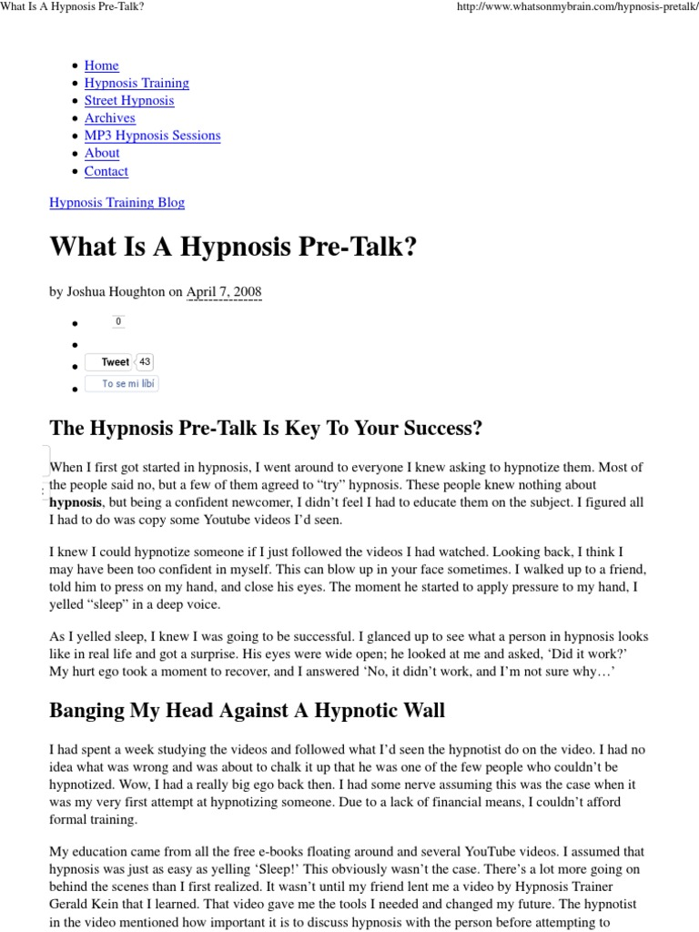 what is a hypnosis pre talk hypnosis psychological states
