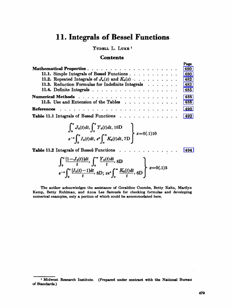 11 Integrals Of Bessel Functions Analysis Differential