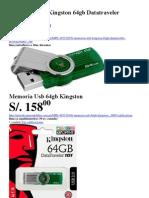 Memorias Usb Kingston 64gb Datatraveler Dt101g2 en Lima