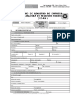 Formulario de Registro de Empresa Comercializadora de Residuos Solidos