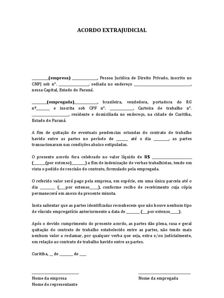 Acordo extrajudicial modelo minuta for Modelo contrato por horas