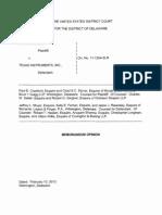 Cradle IP, LLC v. Texas Instruments, Inc., C.A. No. 11-1254-SLR, Memo. Op. (D. Del. Feb. 13, 2013).