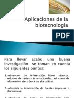 Aplicaciones de la biotecnología2