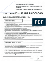 Prova SESDF Psicólogo (2009) Funiversa