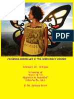 Flyer for Favianna Rodriguez talk at The Democracy Center