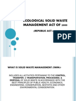 Solid Waste Management Act of 2000 RA 9003