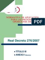 Normativa de Aplicacion Oposiciones 2013