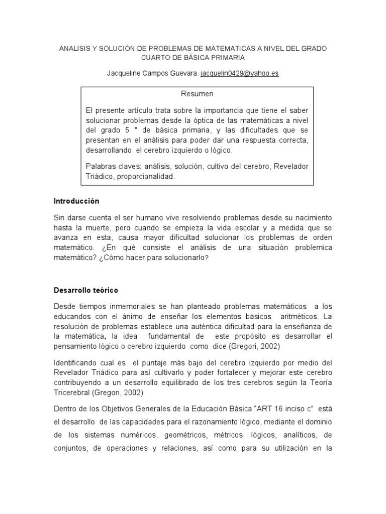 Problemas Matematicas Cuarto Primaria | Articulo Sobre Analisis Y Solucia N De Problemas En Matematicas A