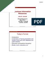 UCLA Friday Forum Business Information Resources Slides 2011