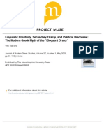 Linguistic Creativity Secondary Orality and Political Discourse
