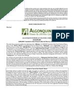 Algonquin Power Preferred Shares Series A