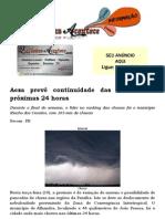 Aesa prevê continuidade das chuvas nas próximas 24 horas