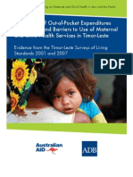 The Impact of Out-of-Pocket Expenditures on Families and Barriers to Use of Maternal and Child Health Services in Timor-Leste