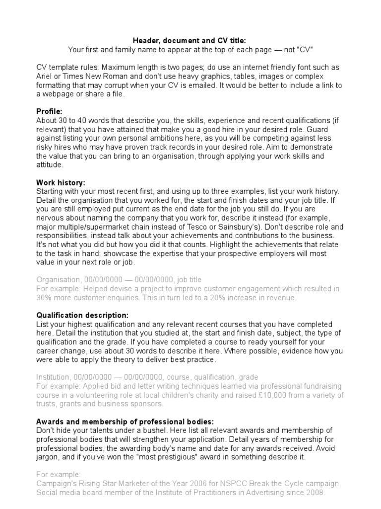 Career Change Cv Template from imgv2-2-f.scribdassets.com