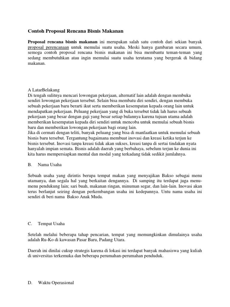Contoh Proposal Rencana Bisnis Makanan