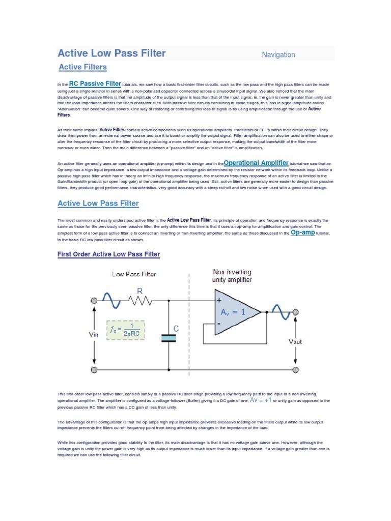 Active Low Pass Filter Amplifier Operational Lowpass Circuit Diagram Basiccircuit