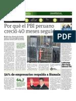Por que el PBI peruano creció 40 meses seguidos