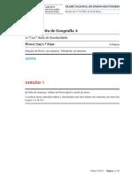 EXAME GEOG A (719 - 1ª FASE) - v 1 (2009)