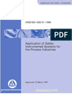 Isa s84.01 Application of Safety Instrumented Systems for Process Industries