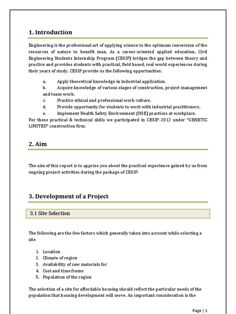 internship report sample civil engineering