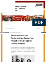SuSurinder Kaur and Parkash Kaur Queen's of Punjabi Folk Songs for Ladies Sangeetrinder Kaur