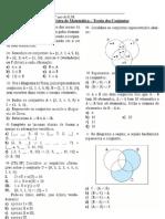 Matemática - Teoria dos conjuntos (Lista de Exercícios)