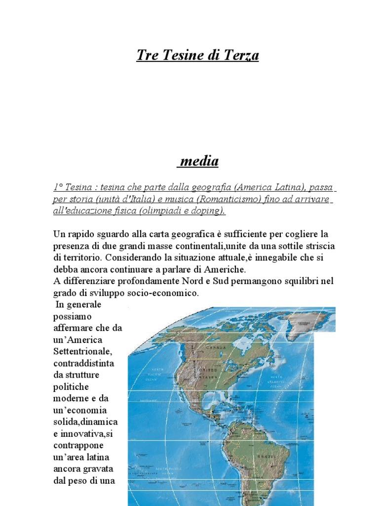 Cartina Fisica America Latina.Tre Tesine Di Terza Media