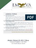 Salem City Council agenda 2-25-2013