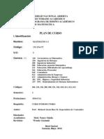 Plan De Curso. Matematica I (175, 176, 177) I Sem. Contaduría Pública UNA
