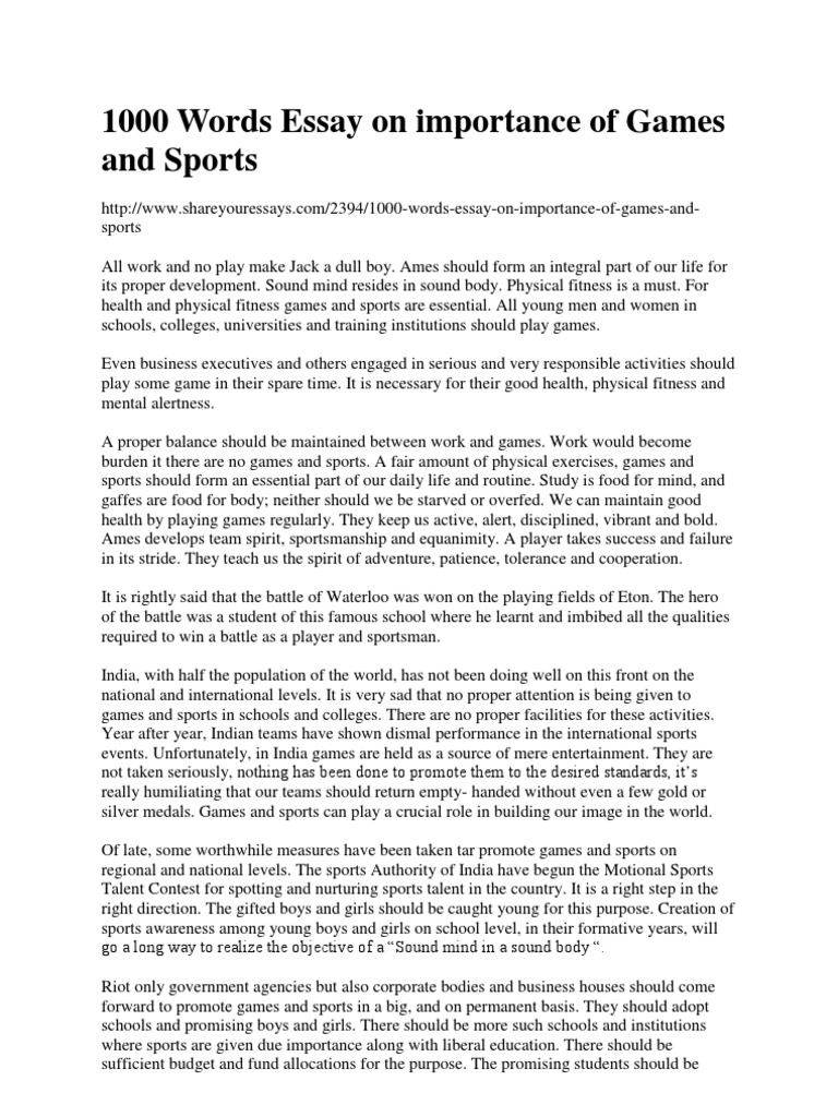 short essay on value of games and sports