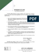 Affidavit of Loss-sss-ritchel Cerbo Castillo