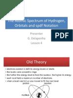 The Atomic Spectrum of Hydrogen Orbitals and Spdf Notation